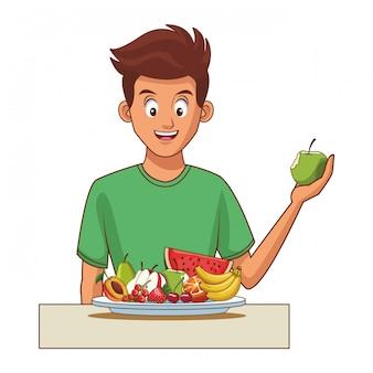 Evenwichtige voeding jonge man