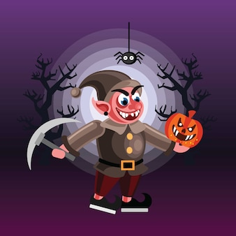 Evil dwarf halloween character