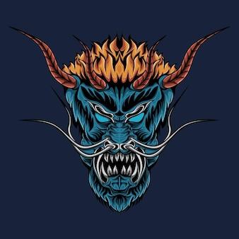 Evil oni mask illustration