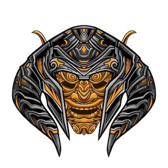 Evil warrior golden mask vector