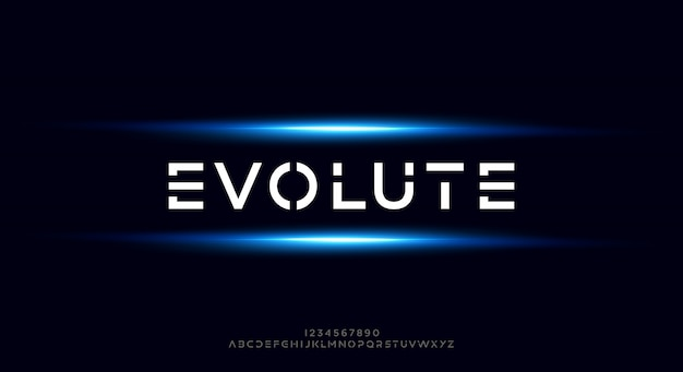 Evolute, een abstract futuristisch alfabetlettertype met technologiethema. modern minimalistisch typografieontwerp