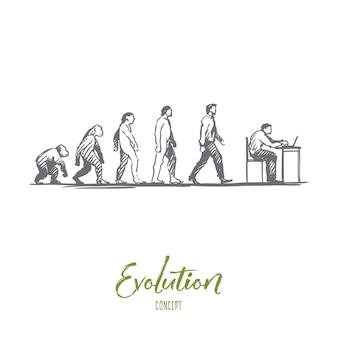 Evolutie illustratie in de hand getekend