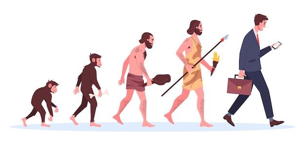 Evolutie van de mens. van aap tot zakenman. historische ontwikkeling.