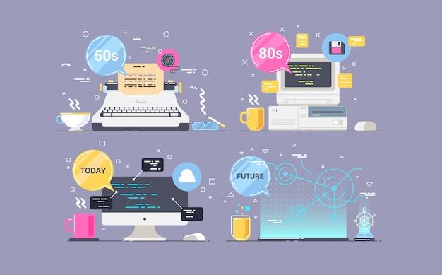 Evolutie van de werkplek, de tijdslijn van technologische ontwikkeling. vectorillustratie van responsieve webdesign.