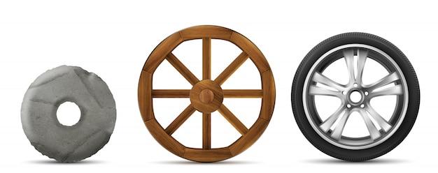 Evolutie van stenen, houten en moderne wielen