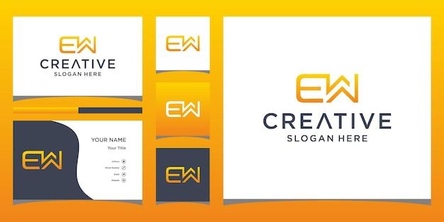 Ew-logo-ontwerp met visitekaartjesjabloon