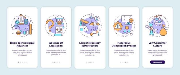 Ewaste-beheer daagt het onboarding van het mobiele app-paginascherm uit met concepten. wettelijke afwezigheid walkthrough 5 stappen grafische instructies.