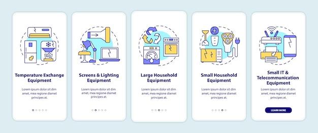 Ewaste-categorieën onboarding mobiele app-paginascherm met concepten. grote, kleine apparatuur doorlopen grafische instructies in 5 stappen.