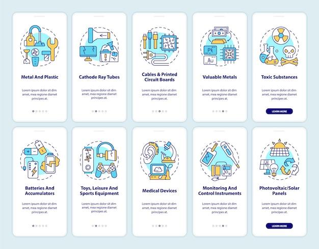 Ewaste herverwerking onboarding mobiele app-paginascherm met ingestelde concepten. componenten, categorieën doorloop grafische instructies in 5 stappen.