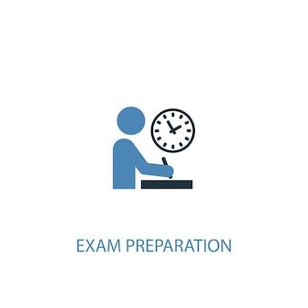 Examen voorbereiding concept 2 gekleurd icoon. eenvoudige blauwe elementenillustratie. examen voorbereiding concept symbool ontwerp. kan worden gebruikt voor web- en mobiele ui/ux