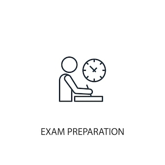 Examen voorbereiding concept lijn icoon. eenvoudige elementenillustratie. examen voorbereiding concept schets symbool ontwerp. kan worden gebruikt voor web- en mobiele ui/ux