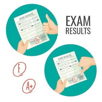 Examenresultaten met uitstekende en onvoldoende cijfers. paper met kennisbeoordeling. beste en slechtste schatting geïsoleerde cartoon set.