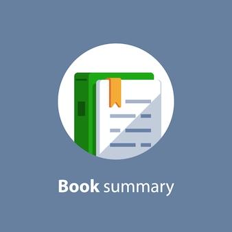 Examenvoorbereiding, leercursus, leermiddelen, boek lezen, opdrachtconcept, boeksamenvatting, pictogram