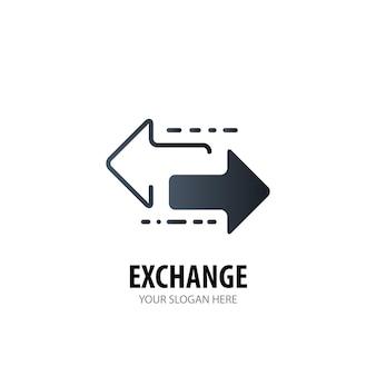 Exchange-logo voor zakelijk bedrijf. eenvoudig exchange-logotype idee-ontwerp. huisstijl concept. creative exchange-pictogram uit de collectie accessoires.