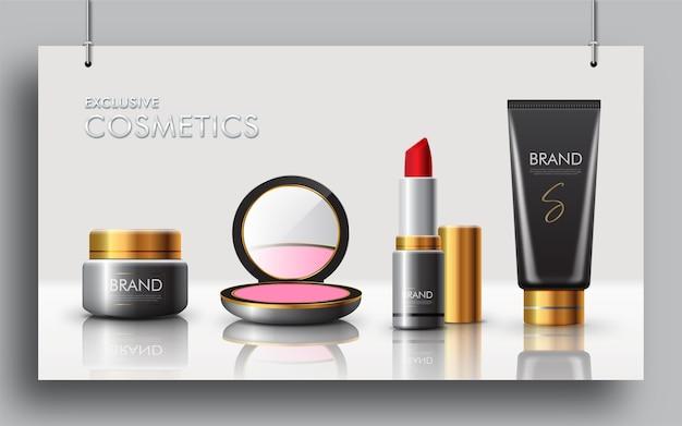 Exclusief make-up cosmeticaproduct voor bannerelementen