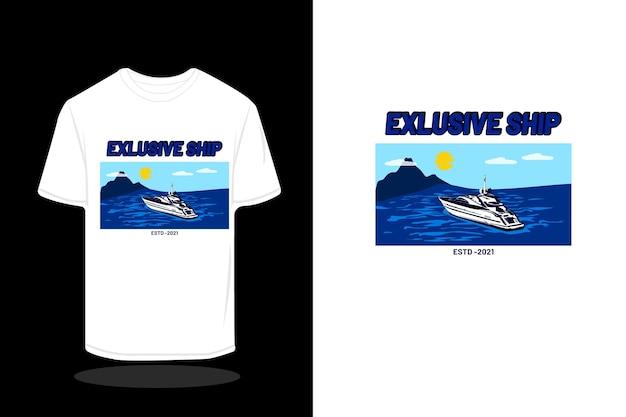Exclusief scheepshandtekening t-shirtontwerp