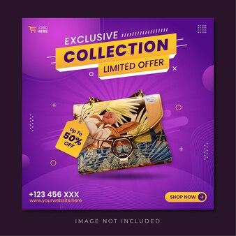 Exclusieve collectie bannersjabloon voor sociale media-promotie