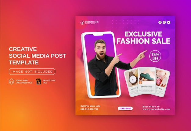 Exclusieve fashion sale concept social media post advertentie instagram advertentie banner post template
