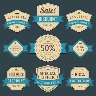 Exclusieve kortingen en verkooplabels. langzaam verdwenen oud document in het ornament van de blauw lint beste prijs.