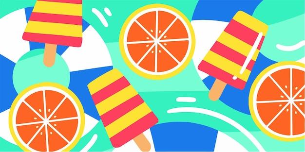 Exclusieve speelse en frisse zomervibe doodle-illustratie