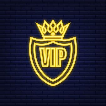 Exclusiviteit, het label vip, zeer belangrijk persoon. neon-stijl. vector illustratie.