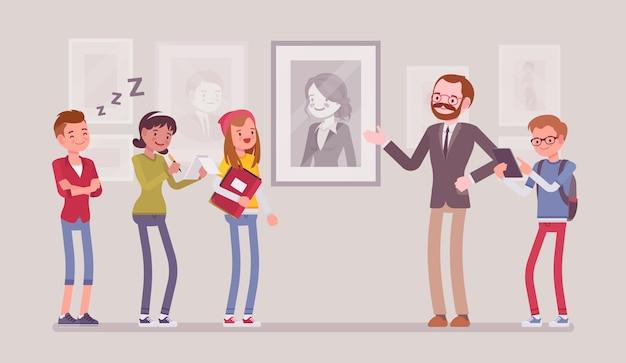 Excursie naar museum. groep schoolkinderen, studenten die educatieve lezingen over historische, wetenschappelijke, artistieke of culturele objecten bekijken en beluisteren. stijl cartoon illustratie