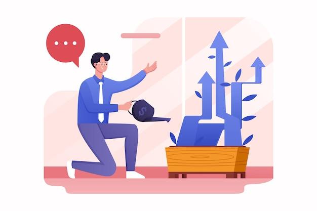 Executive drenken pijl plantengroei illustratie