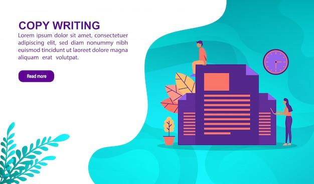 Exemplaar het schrijven illustratieconcept met karakter. bestemmingspaginasjabloon