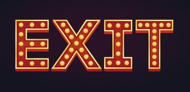 Exit banner alfabet teken selectiekader gloeilamp