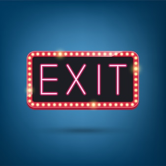 Exit, neon lamp, retro licht frame illustratie