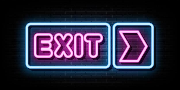Exit neonreclames vector ontwerpsjabloon neon stijl
