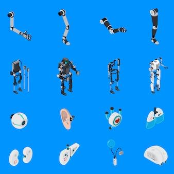 Exoskeleton bionische prothetiek icons set