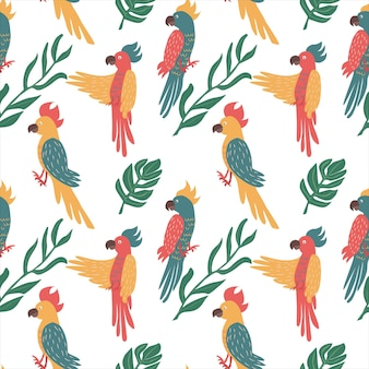 Exotisch papegaaien naadloos patroon. tropische vogels achtergrond. geïsoleerde vectorillustratie.