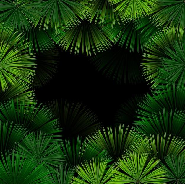Exotisch patroon met tropische bladeren op een zwarte achtergrond