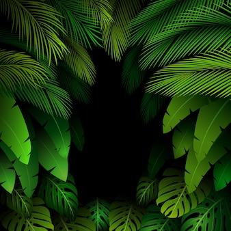 Exotisch patroon met tropische bladerenachtergrond