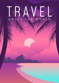 Exotisch plaats reizend posterontwerp geïllustreerd