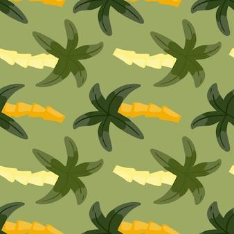 Exotisch plantkunde naadloos patroon met groene palmboomelementen. pastelkleurige achtergrond. doodle stijl.