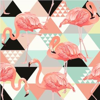 Exotisch strand trendy naadloos patroon met flamingo's