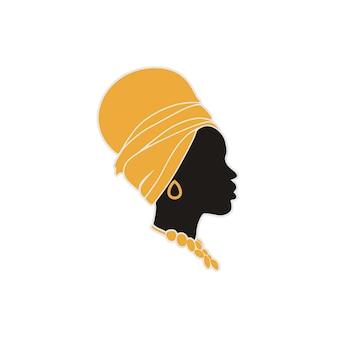 Exotische afrikaanse vrouw logo ontwerp inspiratie