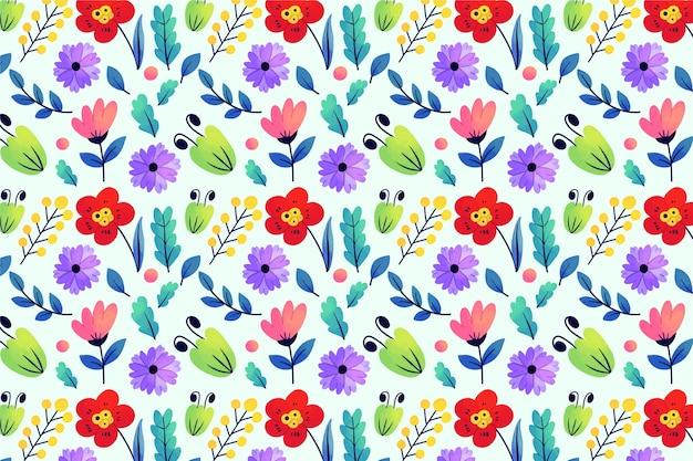 Exotische bladeren en bloemen ditsy print effect achtergrond