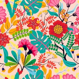 Exotische bladeren en bloemenpatroon