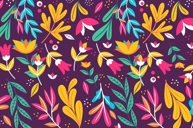 Exotische bloemenachtergrond met bladeren