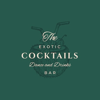 Exotische cocktails abstract teken, symbool of logo sjabloon. elegante handgetekende kokos half met pijpen sillhouette drinken en retro typografie. vintage luxe embleem.
