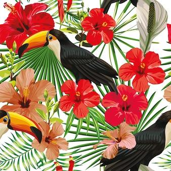 Exotische compositie van tropische vogels toekan bladeren en hibiscus bloemen naadloze patroon print jungle vector behang