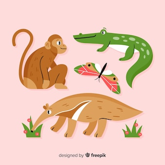 Exotische dierencollectie vlakke stijl