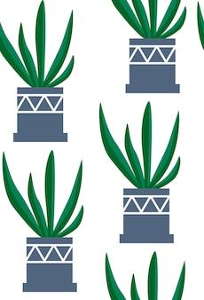 Exotische naadloze patroon tropische kamerplant in een bloempot. plat kleurrijke vectorillustratie.