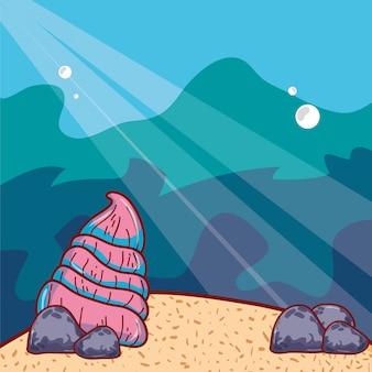 Exotische oestershell met stenen in de zee