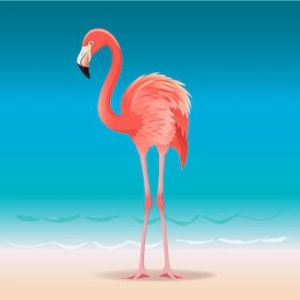 Exotische roze flamingo die op het hete de zomerstrand loopt.