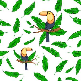 Exotische tropische groene bladeren met modieuze vogel toucan witte achtergrond.