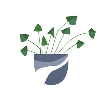 Exotische tropische kamerplant in een bloempot. plat kleurrijke vectorillustratie.